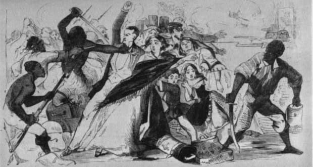 رسم تخيلي يجسد أعمال العنف التي اندلعت ببنما