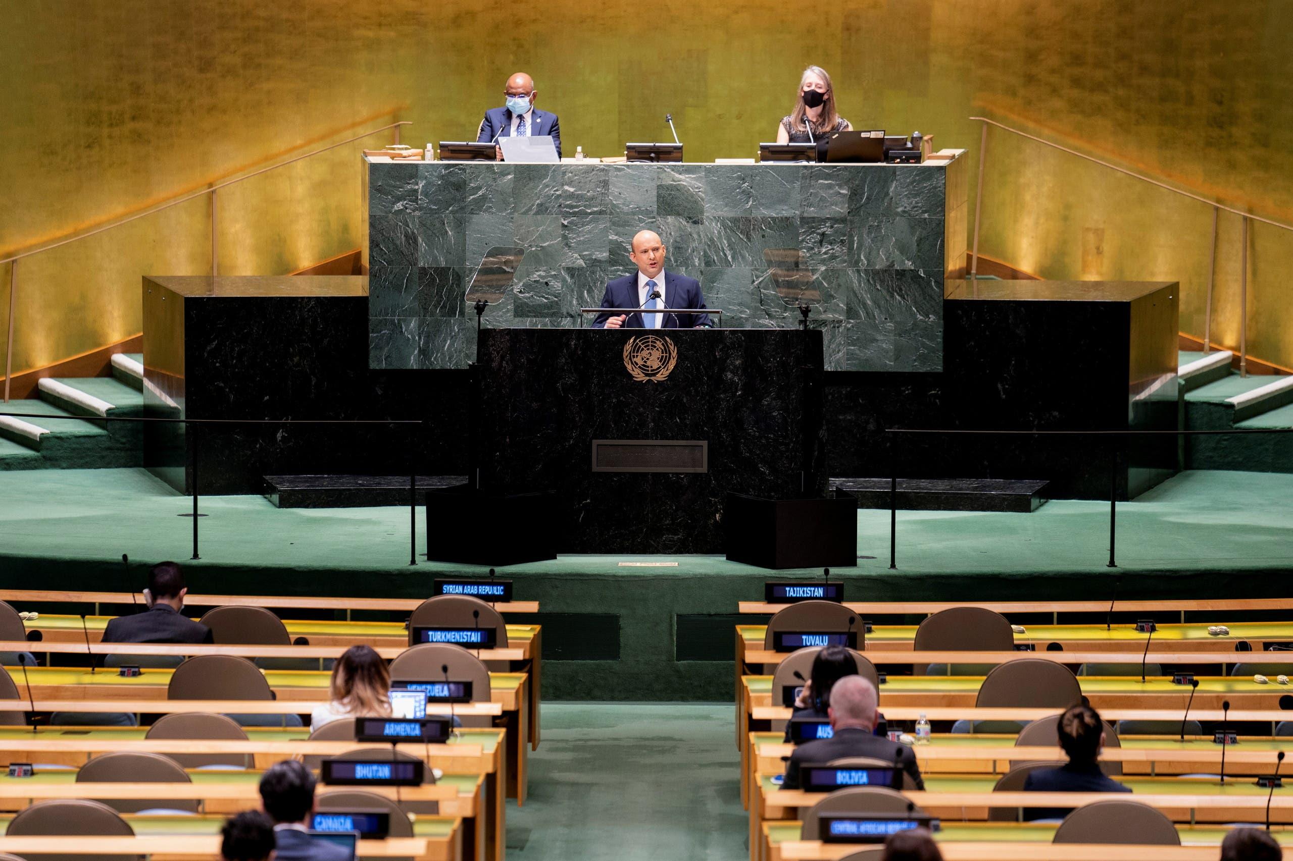 بينيت في خطابه الأول أمام الجمعية العامة للأمم المتحدة الاثنين