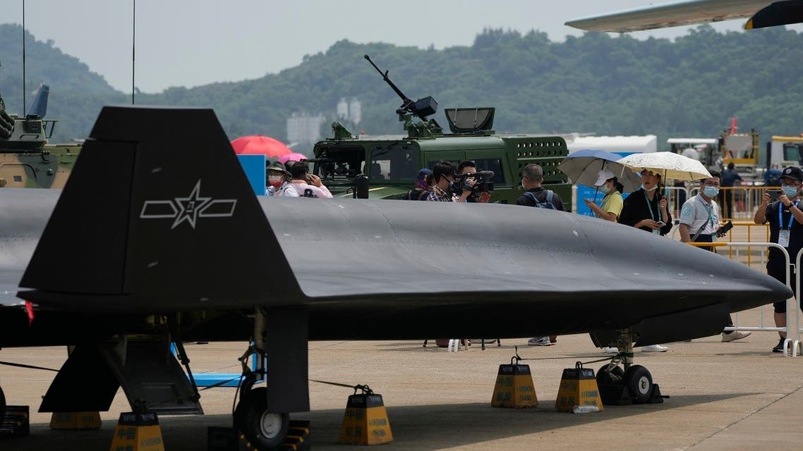 Chinese People's Liberation Army (PLA) Air Force displays its high-altitude supersonic drone the WZ-8 during the 13th China International Aviation and Aerospace Exhibition, on Sept. 28, 2021, in Zhuhai in southern China's Guangdong province. (AP)