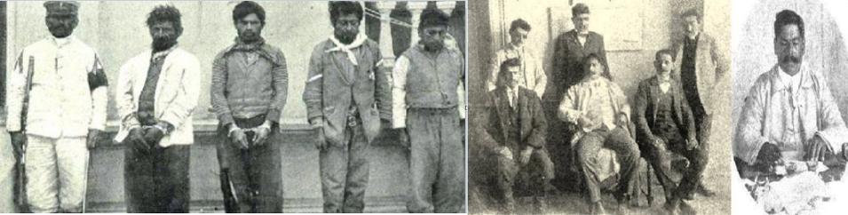 صورتان لقائد الشرطة و6 من معاونيه، وثالثة الى اليسار لشرطي بجانبه 4 معتقلين