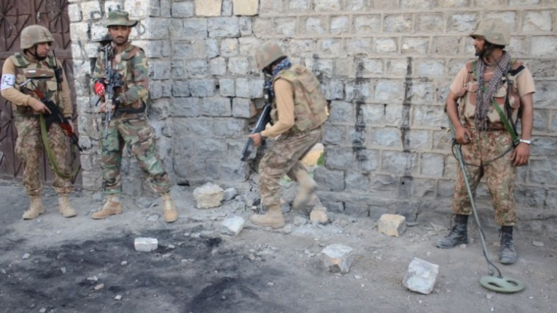 Pakistan Security forces carry out a search operation. File
