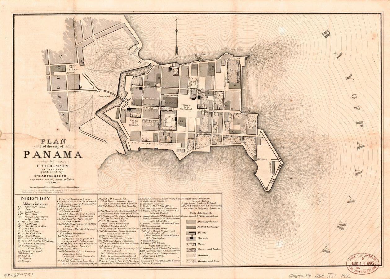 خريطة لبنما تعود للقرن التاسع عشر