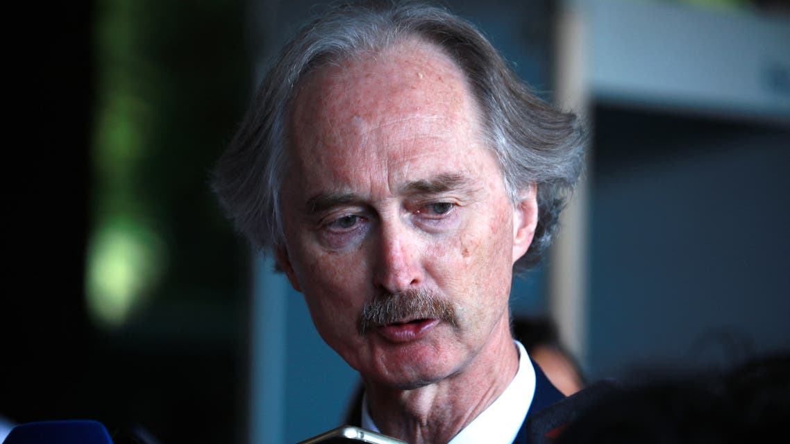 United Nations Special Envoy for Syria Geir Pedersen talks to reporters at his hotel in the Syrian capital Damascus, on September 11, 2021.
