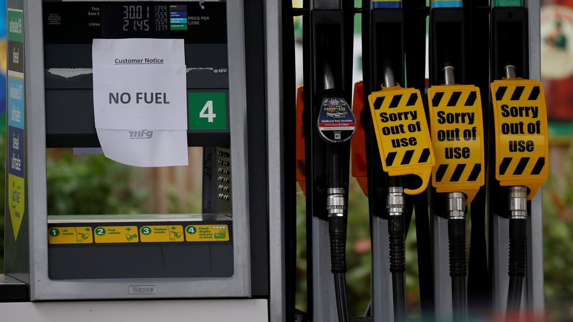 A 'No Fuel' sign is attached to an empty petrol pump at a BP filling station in Manchester, Britain, September 28, 2021. (Reuters)