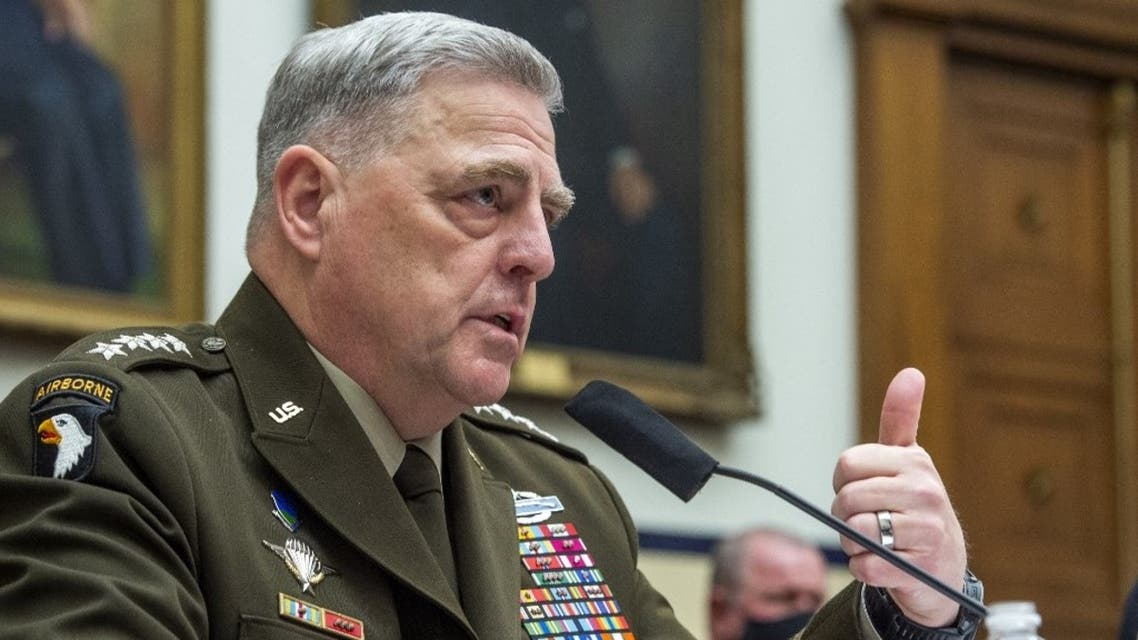 Chairman of the Joint Chiefs of Staff Gen. Mark A. Milley testifies during a House Armed Services Committee hearing on Ending the U.S. Military Mission in Afghanistan in the Rayburn House Office Building at the U.S. Capitol on September 29, 2021 in Washington, DC. (AFP)