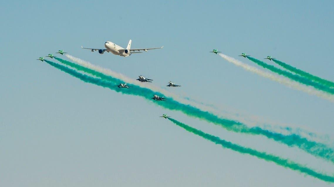 Saudi aircrafts perform as part of Saudi Arabia's 90th National Day celebrations, in Riyadh, Saudi Arabia, September 23, 2020. (Reuters)