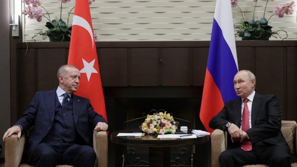 Russian President Vladimir Putin meets with his Turkish counterpart Recep Tayyip Erdogan in Sochi on September 29, 2021. (AFP)