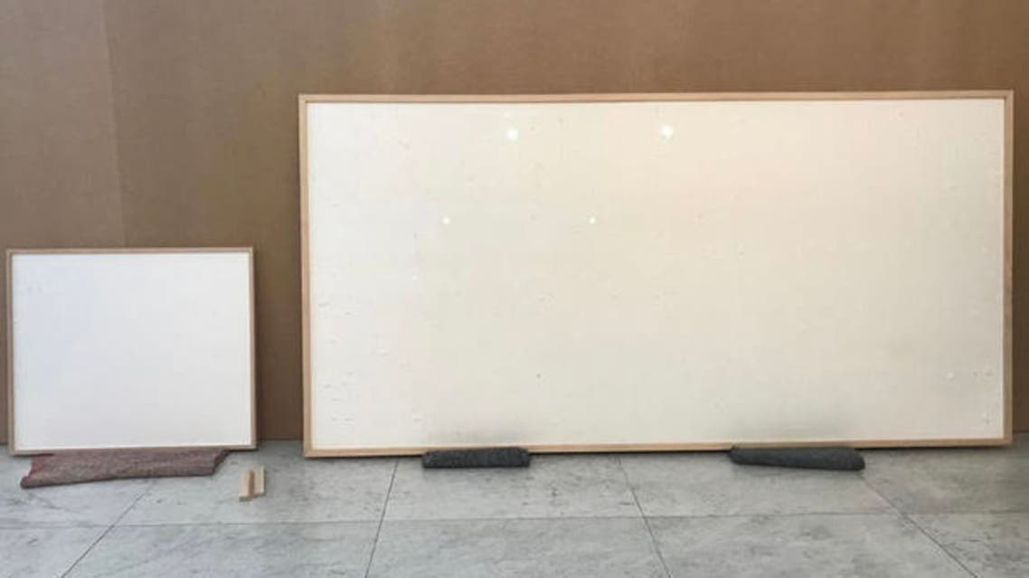 Blank canvases delivered by Jens Haaning to the Kunsten useum of Modern Art in Aalborg, Denmark. (Twitter)