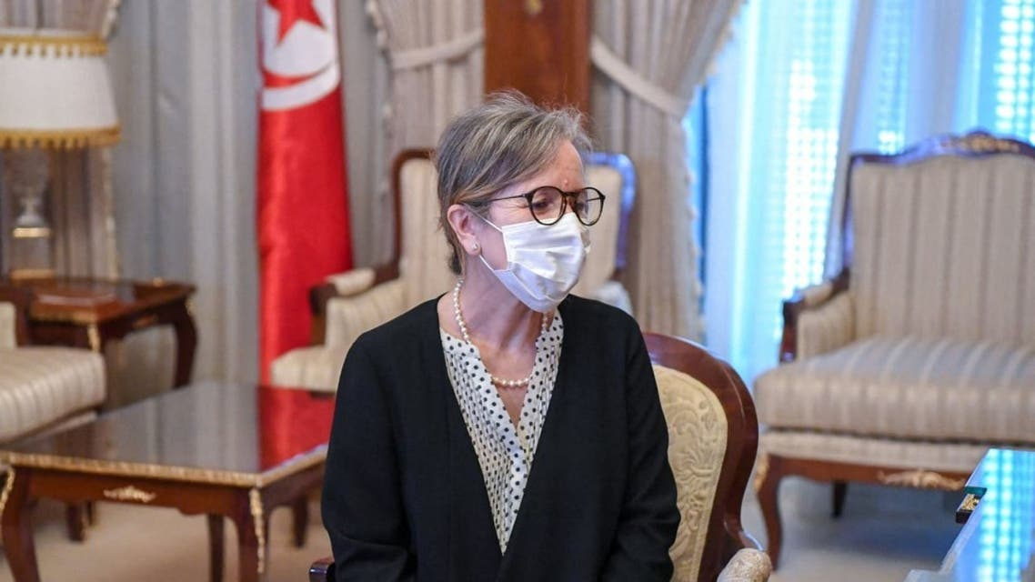 A handout picture provided by the Tunisian Presidency's official Facebook Page on September 29, 2021 shows Najla Bouden during a meeting in the capital Tunis. (AFP)