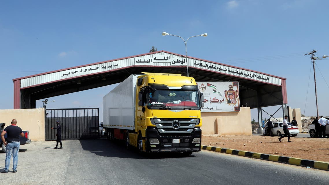 A truck drives at Jaber border crossing with Syria, near Mafraq, Jordan, September 29, 2021. (Reuters)