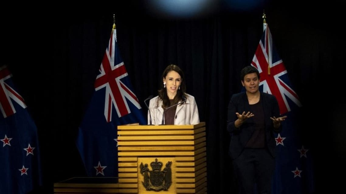 New Zealand's Prime Minister Jacinda Ardern speaks during a press conference at the Parliament House in Wellington on November 6, 2020. (AFP)