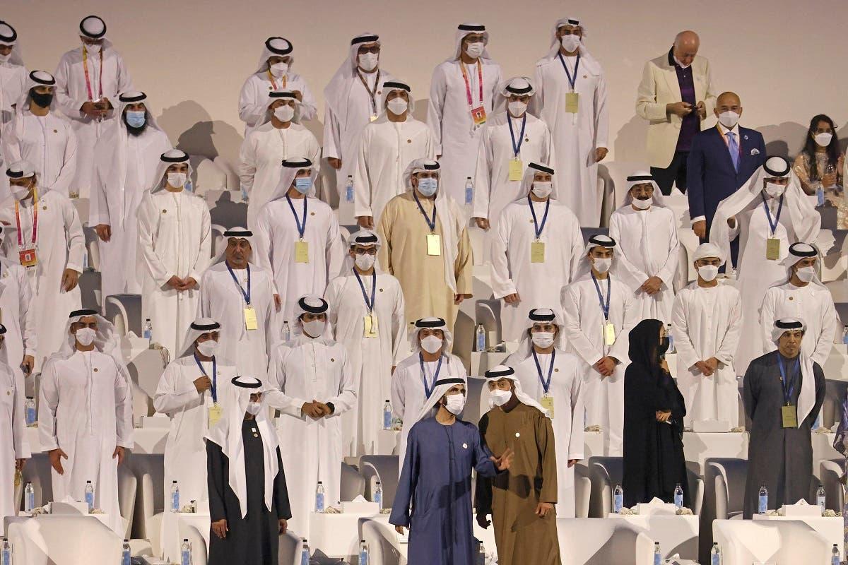 Sheikh Mohamed bin Rashid al-Maktoum, speaks with Sheikh Mohamed bin Zayed al-Nahyan during the opening ceremony of the Dubai Expo 2020, on September 30, 2021. (Karim Sahib/AFP)