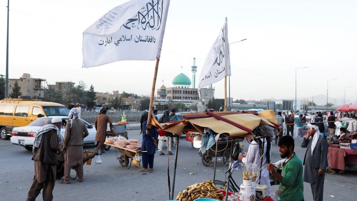 The Taliban flags are seen on a street in Kabul, Afghanistan, on September 16, 2021. (WANA /Reuters)