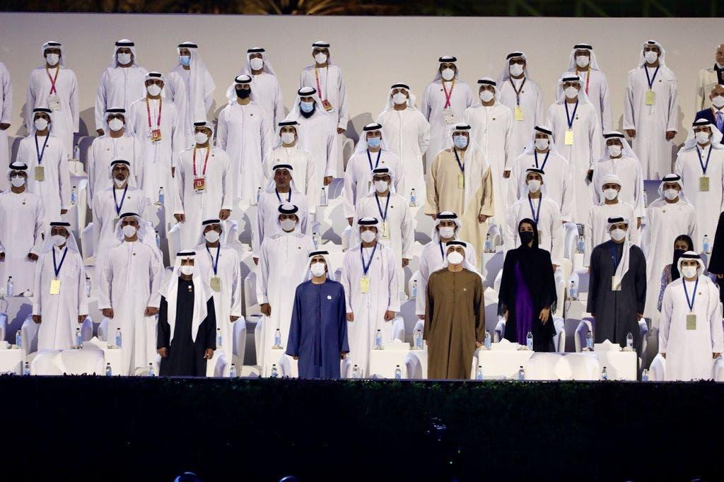 الشيخ محمد بن راشد والشيخ محمد بن زايد آل نهيان خلال حفل إكسبو 2020