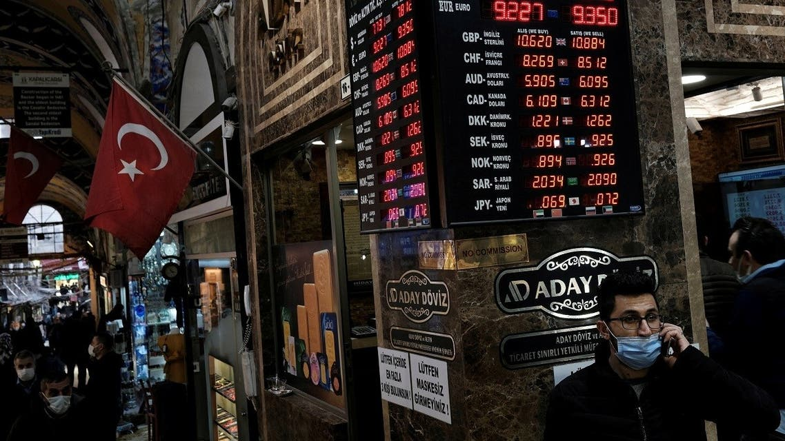 A board shows the currency exchange rates outside an exchange office in Istanbul, Turkey March 22, 2021. (Reuters/Murad Sezer)