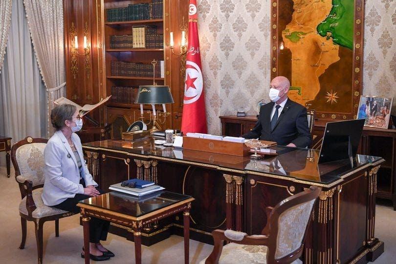 الرئيس التونسي قيس سعيّد ورئيسة الوزراء المكلفة نجلاء بودن