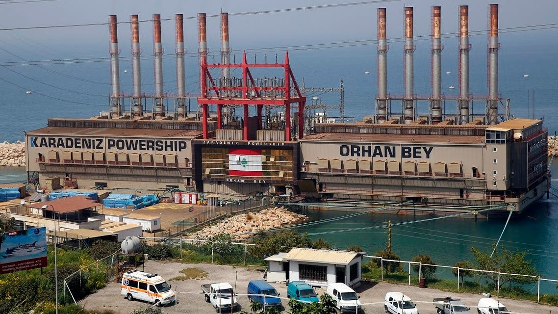 The Turkish floating power station Karadeniz Powership Orhan Bey, which generates electricity to help ease the strain on the country's woefully under-maintained power sector, is docked near the Jiyeh power plant, south of Beirut, Lebanon. (File photo: AP)