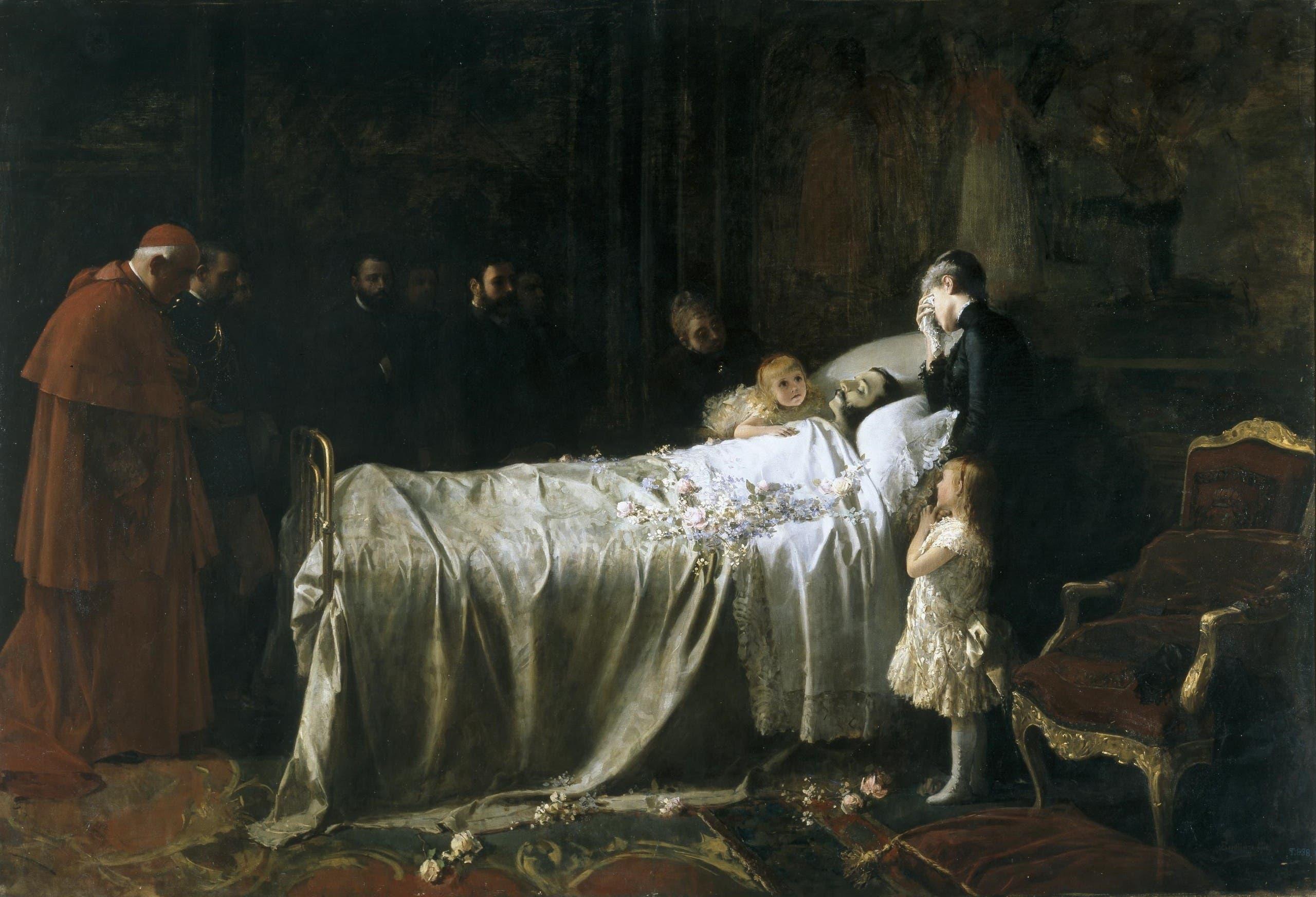 لوحة تجسد الملك ألفونسو الثاني عشر على فراش الموت
