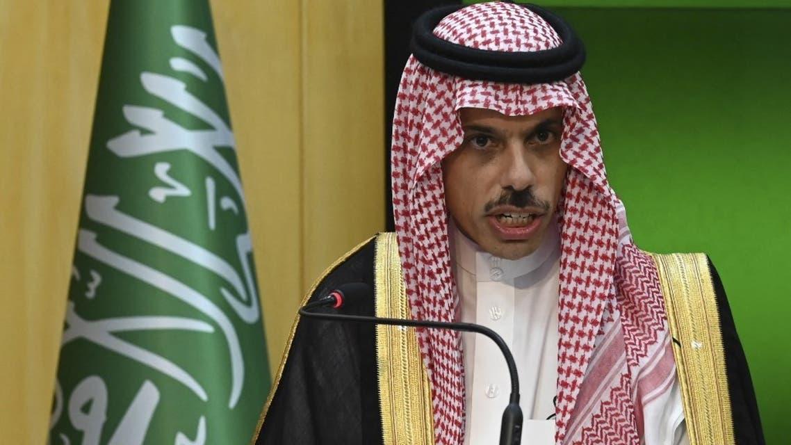 Saudi Foreign Minister Prince Faisal Bin Farhan Al-Saud on July 27, 2021. (AFP)