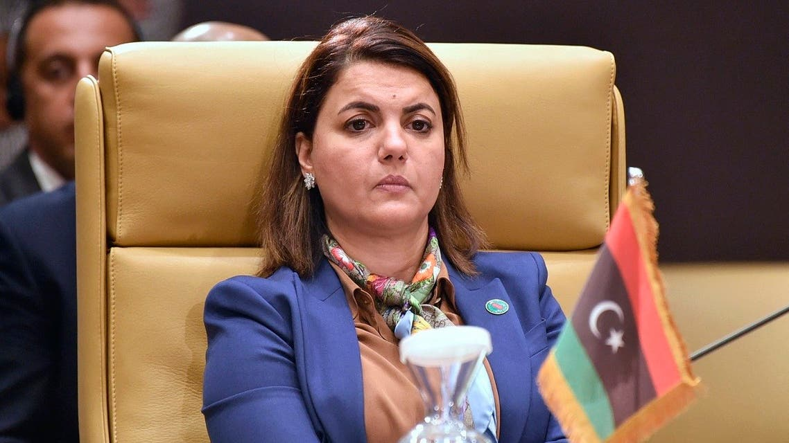 Libya's Foreign Minister Najla al-Mangoush attends a meeting by Libya's neighbours as part of international efforts to reach a political settlement to the country's conflict, in the Algerian capital Algiers, on August 30, 2021. (AFP)