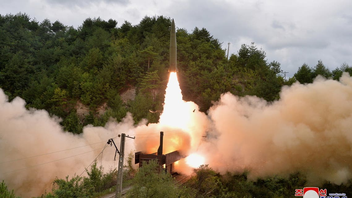 A missile is seen launched during a drill of the Railway Mobile Missile Regiment in North Korea, in this image supplied by North Korea's Korean Central News Agency on September 16, 2021. KCNA via REUTERS ATTENTION EDITORS - THIS IMAGE WAS PROVIDED BY A THIRD PARTY. REUTERS IS UNABLE TO INDEPENDENTLY VERIFY THIS IMAGE. NO THIRD PARTY SALES. SOUTH KOREA OUT. NO COMMERCIAL OR EDITORIAL SALES IN SOUTH KOREA.