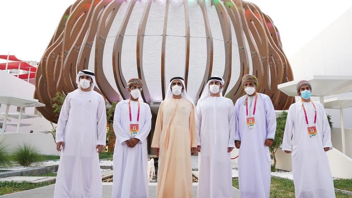 Sheikh Mohammed bin Rashid Al Maktoum visits Oman's pavillion at Expo 2020 Dubai. (Twitter)