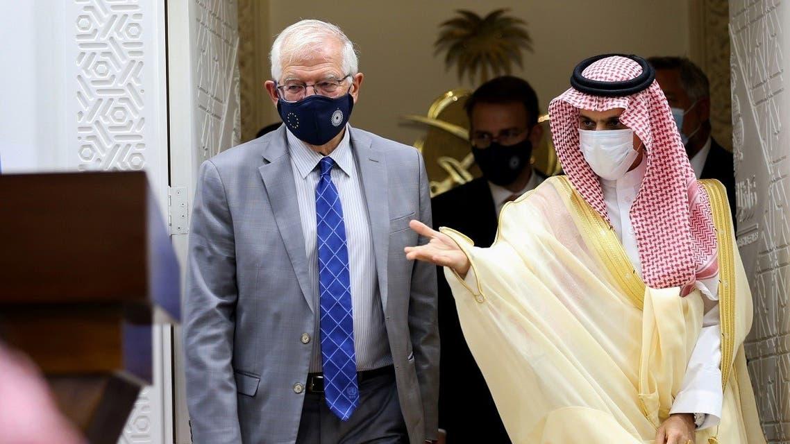 EU foreign policy chief Josep Borrell and Saudi Arabia's Foreign Minister Faisal bin Farhan Al-Saud arrive for a news conference in Riyadh, Saudi Arabia. (Reuters)