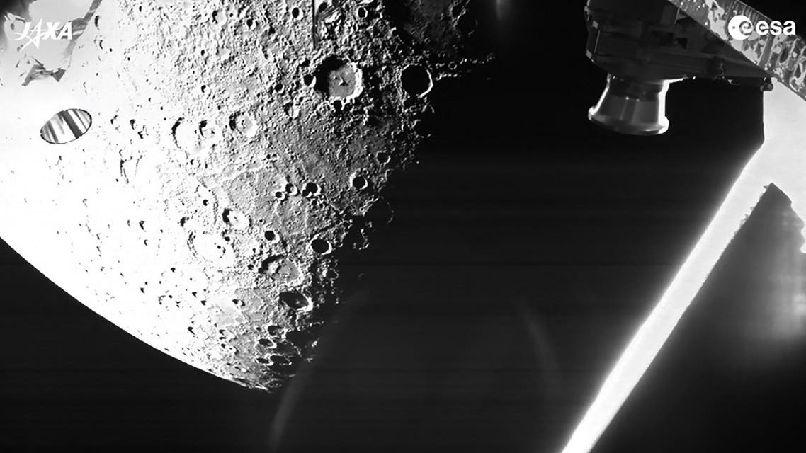 A handout photo made available by the European Space Agency on October 2, 2021 shows a view of Mercury captured on October 1, 2021 by the joint European-Japanese BepiColombo mission as the spacecraft flew past the planet for a gravity assist manoeuvre. (AFP)