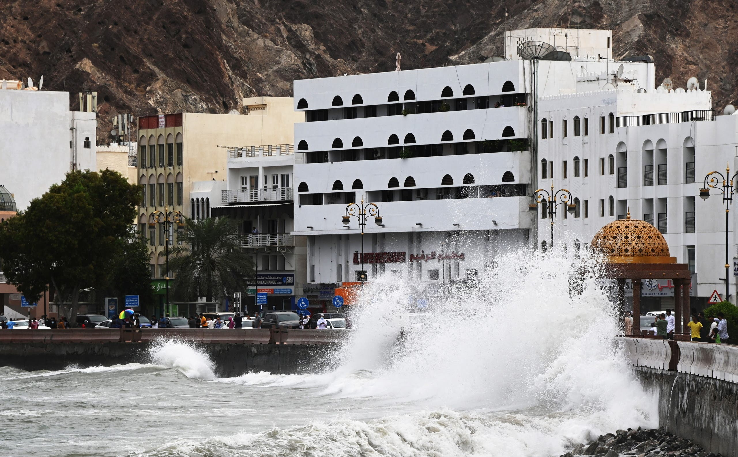 Strong waves hit the shore as Cyclone Shaheen makes landfall in Muscat Oman, October 2, 2021. (Reuters)