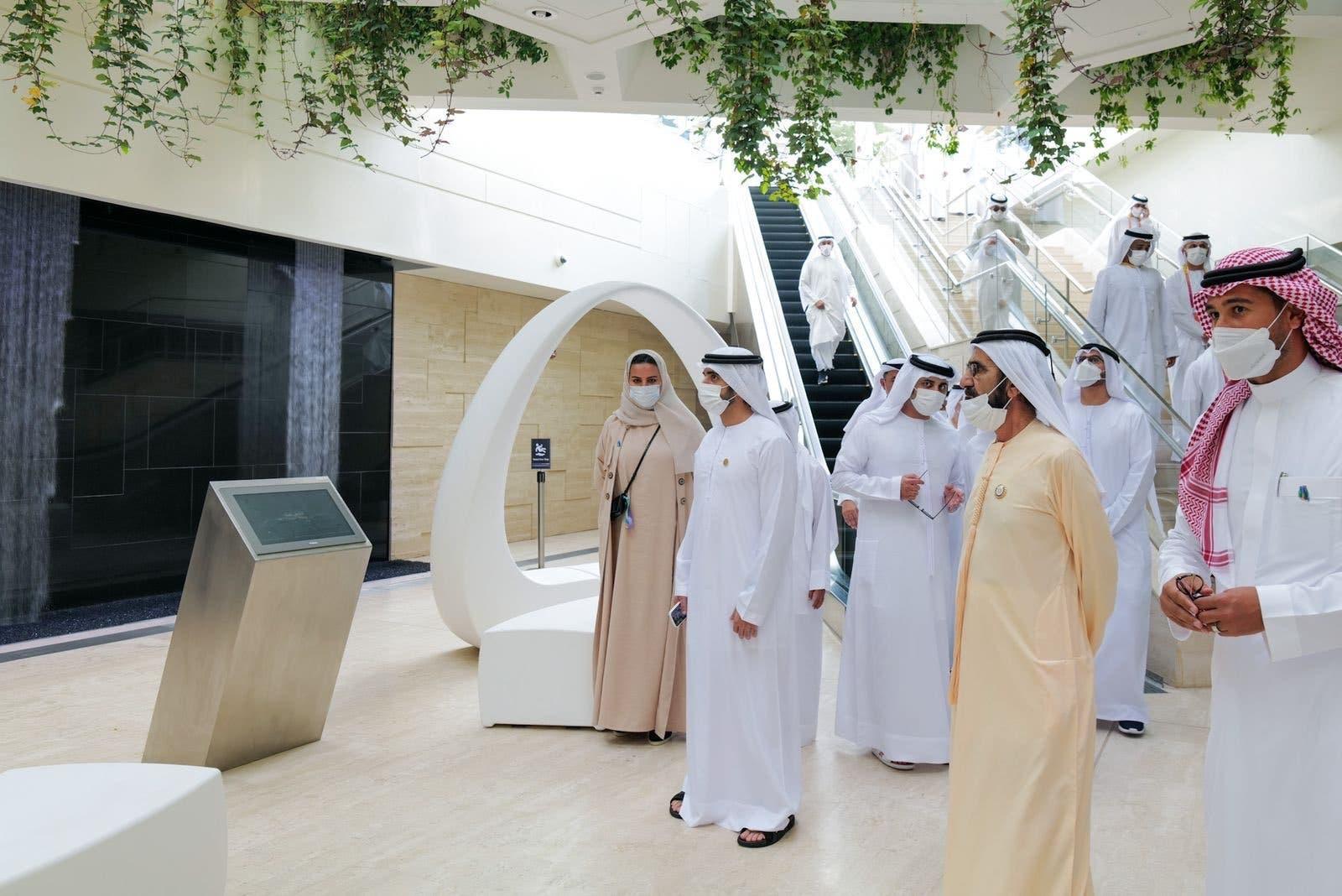 Sheikh Mohammed bin Rashid Al Maktoum visits Saudi Arabia's pavillion at Expo 2020 Dubai. (Twitter)