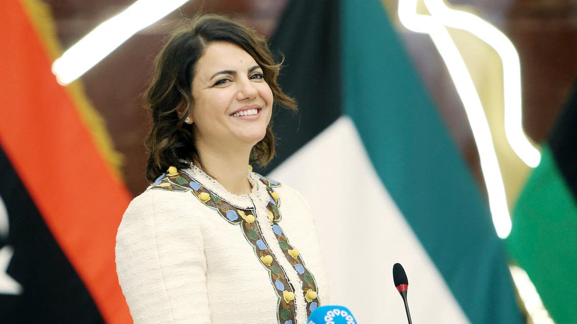 Libyan Foreign Minister Najla al-Mangoush speaksduring a joint press conference with her Kuwaiti counterpart in Kuwait City on October 3, 2021.