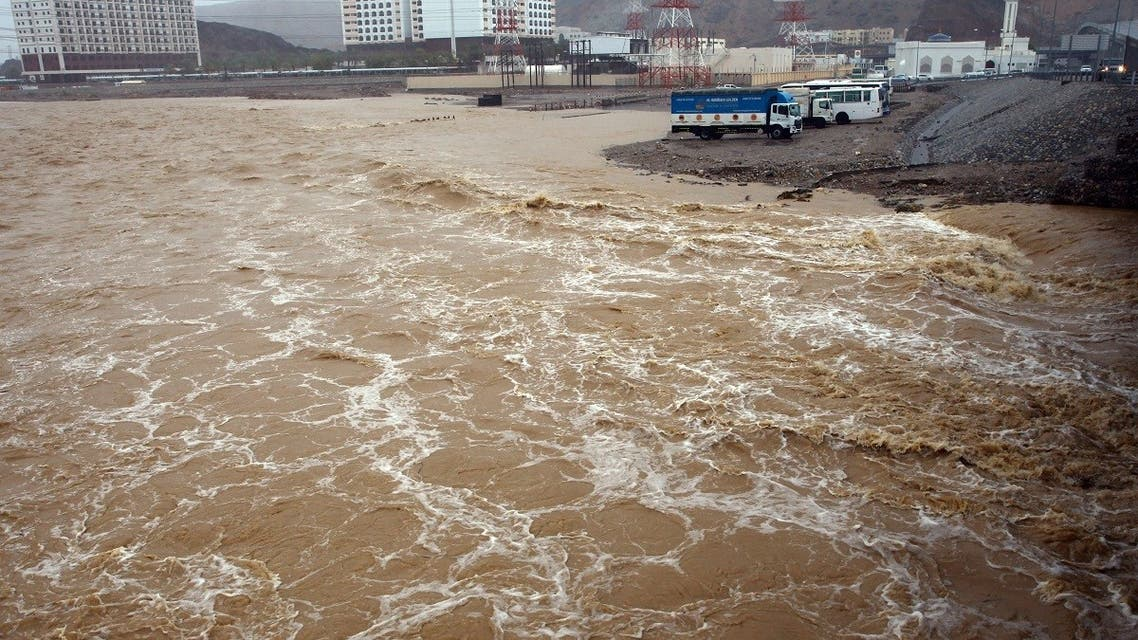 A picture taken on October 3, 2021, shows flooding in the Omani capital Muscat, as the Shaheen tropical storm hits the country. One child has died in flash flooding while flights and schools have been suspended as tropical Cyclone Shaheen bears down on Oman, authorities said. (AFP)