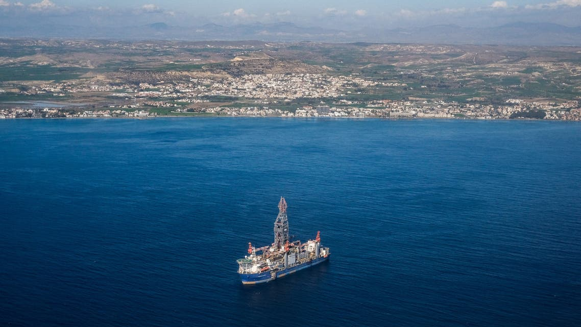 This picture taken on January 15, 2021 shows an aerial view of the drillship Tungsten Explorer used by the Total-Eni consortium, anchored at 5 nautical miles off the coast of the Cypriot town of Oroklini in the gulf of Larnaca.