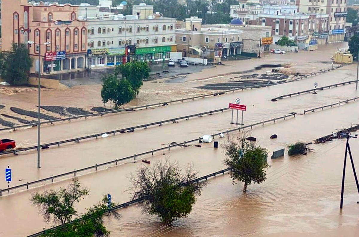 This photo released by Oman News Agency shows a flooded street of the Al Khaburah district after Cyclone Shaheen, in Oman, Monday, Oct. 4, 2021. (AP)