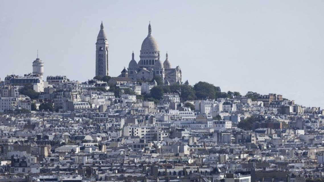 This photograph taken on September 16, 2021, from the top of the arc de Triomphe in Paris, shows the Sacre Coeur Church. (AFP)