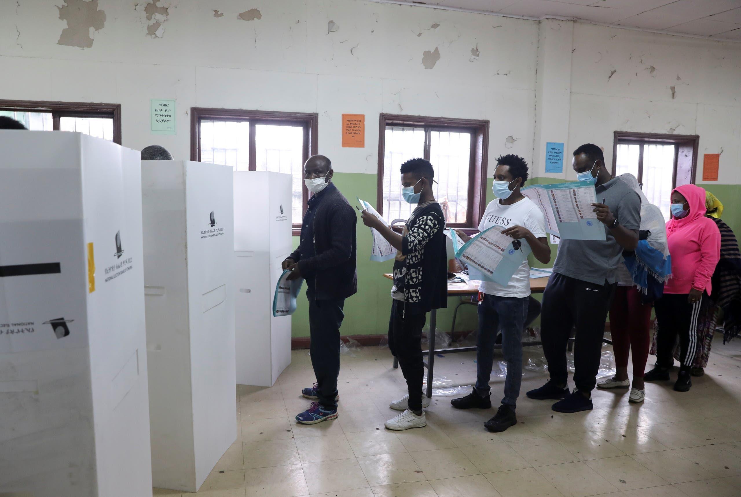 مركز اقتراع في أديس أبابا خلال الانتخابات التي شهتدها إثيوبيا في يونيو الماضي