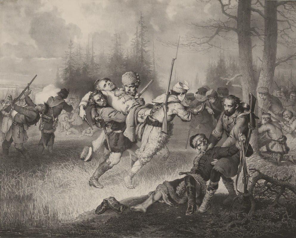 لوحة تجسد إحدى المعارك بثورة 1863
