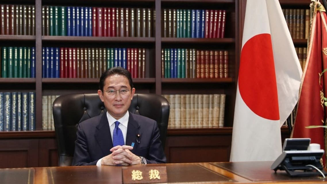 Fumio Kishida, former foreign minister, poses for a photo following a press conference after being elected as the new leader of the ruling Liberal Democratic Party (LDP), at the LDP headquarters in Tokyo on September 29, 2021. (AFP)