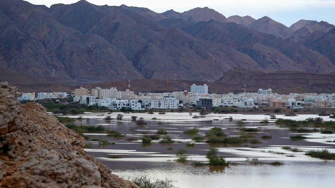 A general view shows Ansab Dam amid cyclone Shaheen in Oman's capital Muscat on October 3, 2021. Nine people were found dead in Oman and Iran as Tropical Cyclone Shaheen pummelled the two countries, authorities said. (AFP)