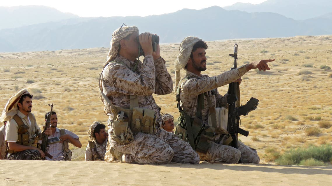 Fighters loyal to Yemen's Saudi-backed government are pictured on the frontline facing Iran-backed Huthi rebels in the country's northeastern province of Marib on September 27, 2021. Sixty-seven Yemeni rebels and pro-government troops have been killed in fighting for the key city of Marib, military sources said, as the insurgents inch closer to the loyalists' last northern bastion.