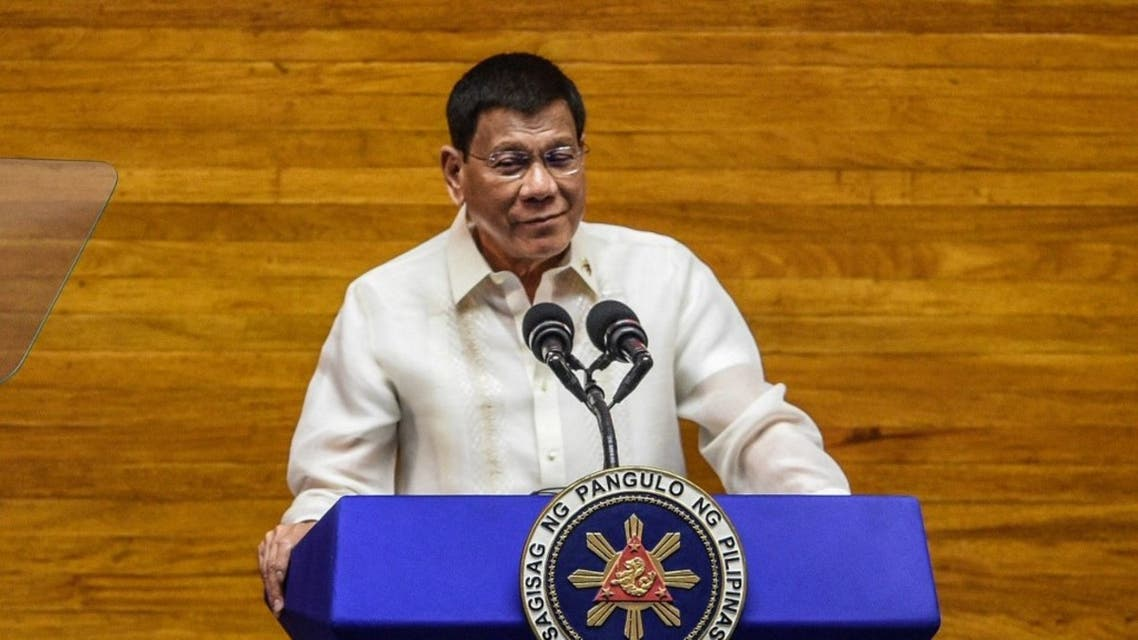 Philippine President Rodrigo Duterte speaks during the annual state of the nation address at the House of Representatives in Manila on July 26, 2021. (AFP)