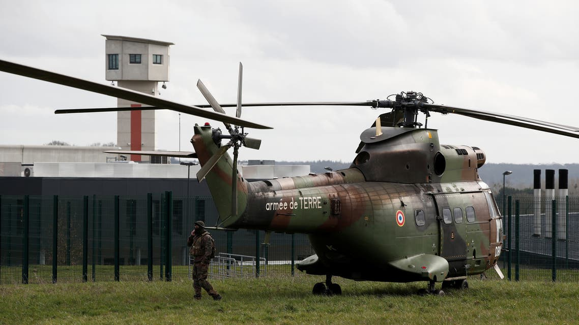 A French Army helicopter is seen outside the Conde-sur-Sarthe prison. (File photo: Reuters)