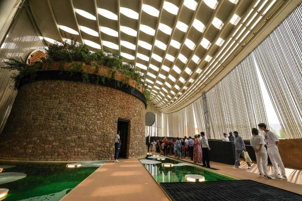 People visit the Italian pavilion at the Expo 2020, in the Gulf Emirate of Dubai, on October 1, 2021. (AFP)