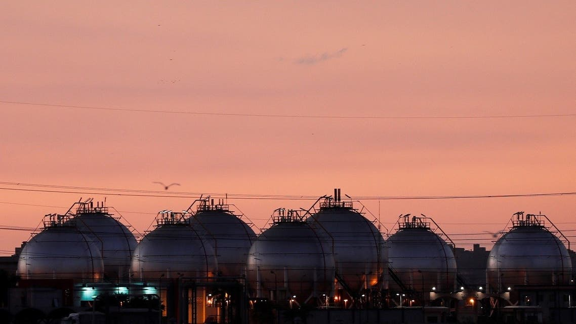 A plant's gas tanks are seen in Alexandria, Egypt Sept. 26, 2021. (Reuters)