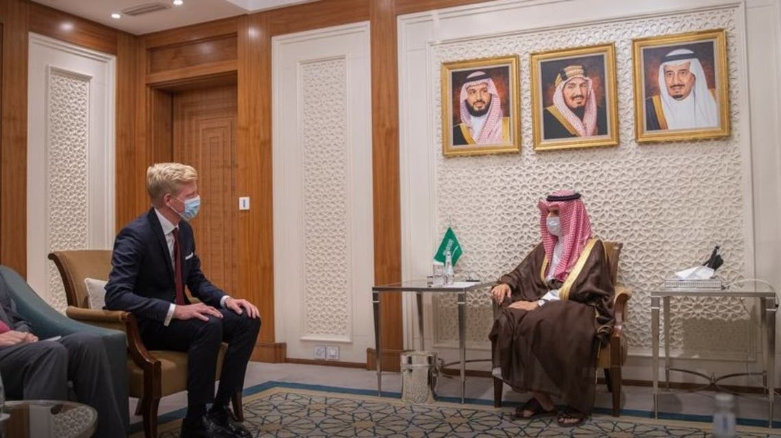 Saudi Arabia's Minister of Foreign Affairs Prince Faisal bin Farhan met with the UN Special Envoy for Yemen Hans Grundberg in Riyadh. (KSAMOFA)