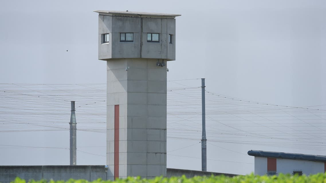 A picture taken on October 5, 2021 shows a view of the penitentiary center of Alencon, in Conde-sur-Sarthe, northwestern France, where a detainee has taken a prison guard hostage. (AFP)