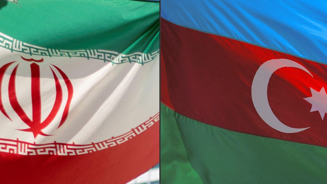 This combination of pictures created on October 5, 2021 shows (L to R) an Iranian flag and an Azerbaijani flag. (AFP)