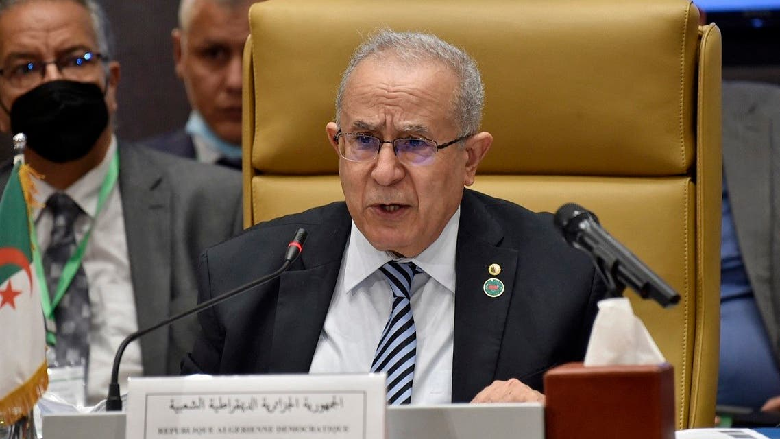 Algeria's Foreign Minister Ramtane Lamamra speaking during a meeting by Libya's neighbours as part of international efforts to reach a political settlement to the country's conflict, in the Algerian capital Algiers, on August 30, 2021. (AFP)