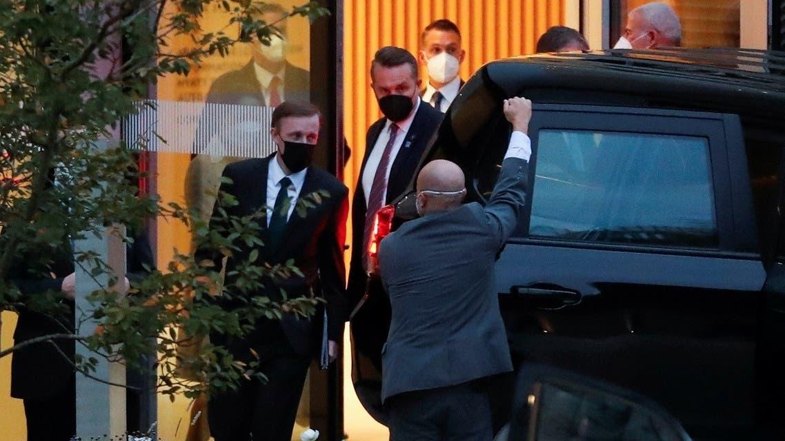 National Security Adviser Jake Sullivan leaves from a hotel in Zurich, Switzerland, Oct. 6, 2021. (Reuters)