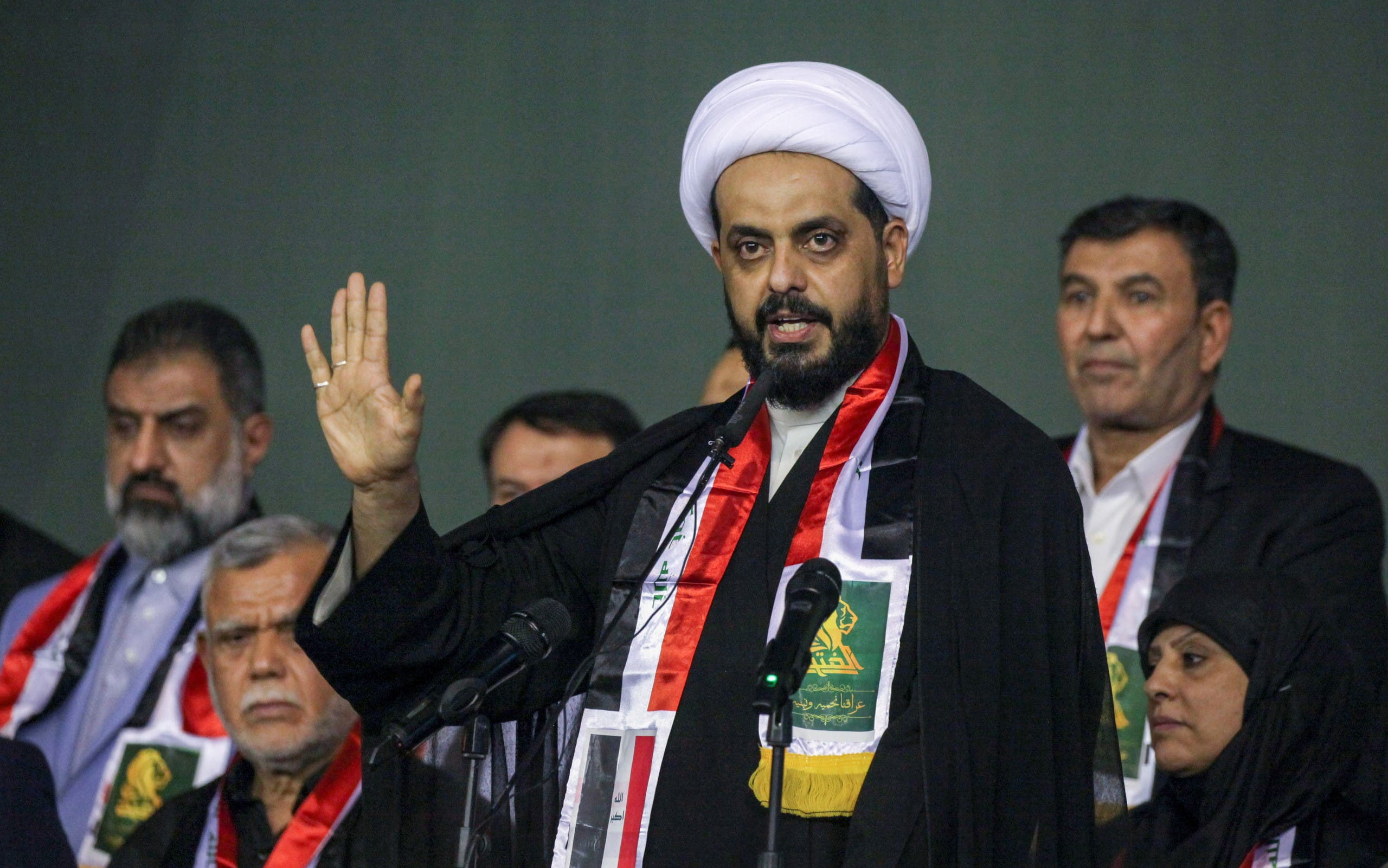Qais al-Khazali, leader of the militant group Asaib Ahl al-Haq attends an election rally, ahead of the parliamentary election in Baghdad, Iraq October 5, 2021. (Reuters)